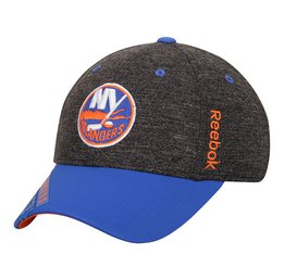 New York Islanders Reebok Black Playoff Structured Flex Hat