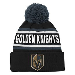 Купить Шапка Youth Vegas Golden Knights Black Wordmark Cuffed Pom Knit Hat