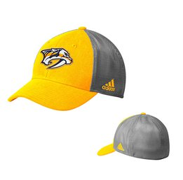 Men's Nashville Predators adidas Gold/Gray Sun Bleached Meshback Flex Hat