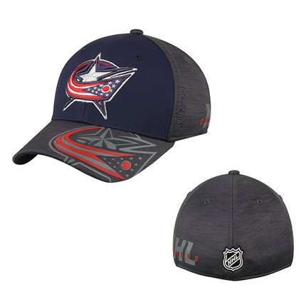 Men's Columbus Blue Jackets Reebok Navy/Gray 2017 NHL Stanley Cup Playoffs Participant Flex Hat