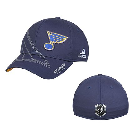 Men's St. Louis Blues adidas Navy On-Ice Second Season Structured Flex Hat