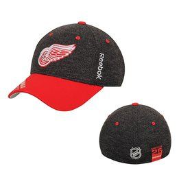 Men's Detroit Red Wings Reebok Black Playoff Structured Flex Hat